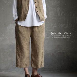 Flax olive linen pants